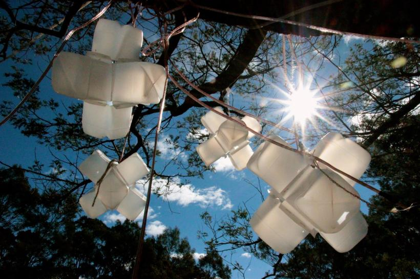 milk bottle light sculpture