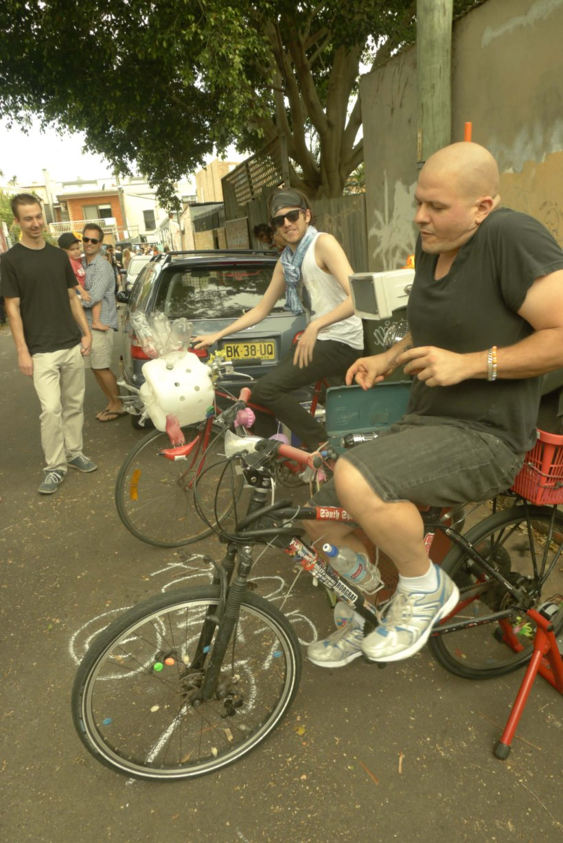 Dudes be grooving with bike powered sound