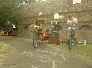 Pedaling for the bike power at Reclaim the Lanes 2013