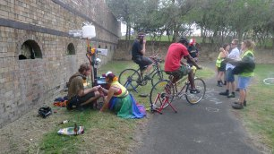 Riding bicycles to power a sound system at Reclaim the Lanes 5 in Sydney Park