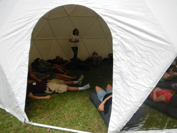 Nap time lesson takes place on bean bag lounges in the dome