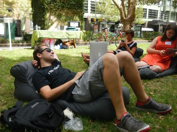 Lounging out in Wynyard Park at The Hub