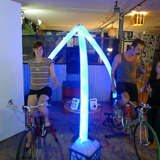 Bicycle powered sound system milk bottle light installation #2