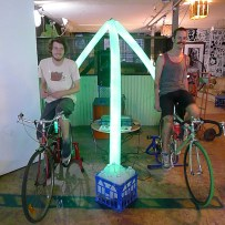 Bicycle powered sound system milk bottle light installation