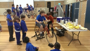 Pedal powered blender school kids participate in electricity generation