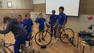 school boys pedal power