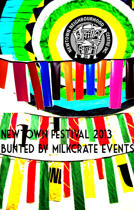 Newtown Festival bunting decor milkcrate events 2013
