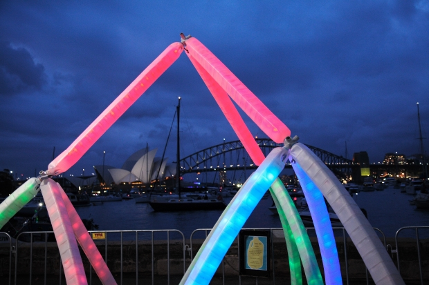 Cosmic milk installation at Sydney Harbour NYE 2013