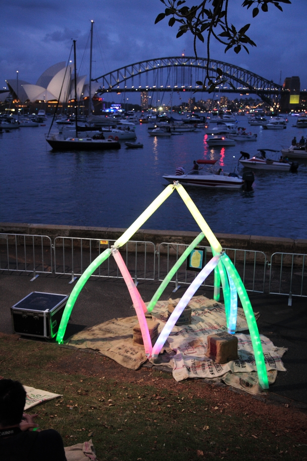 Sydney harbour and milk bottle sculpture 2013 NYE
