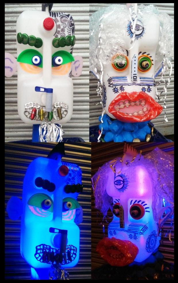 plastic bottles reused for art