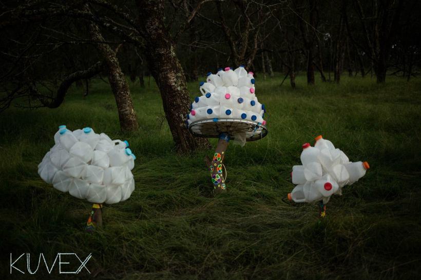 mushrooms milk bottle installation LEDs