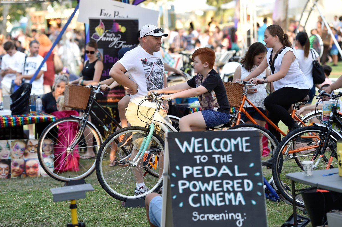 Pedal power bicycle cinema